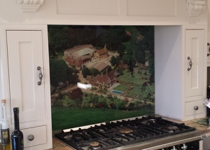 Splashback with digital image on the glass